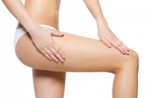 Female pampering skin on her legs
